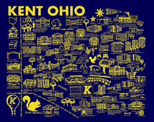 Blue and Gold Kent State Map Print