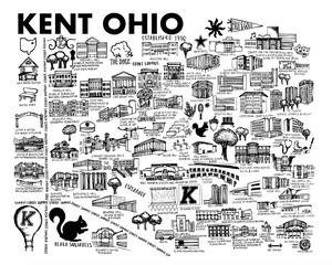Black and White Kent State Map Print