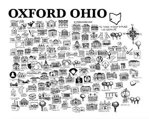 Oxford Ohio Map Print Black and White