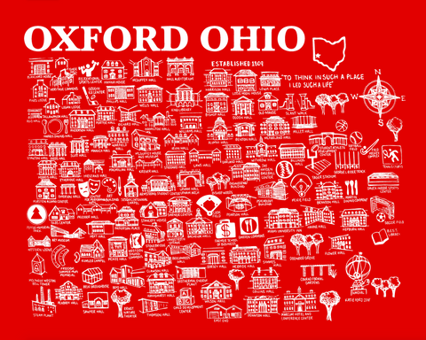 Copy of Oxford Ohio Map Print Red and White