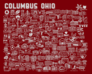 Scarlet and Gray Ohio State Map