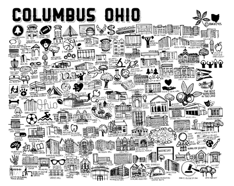 Black and White Ohio State University Map