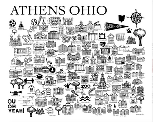 Black and White Athens Ohio Map