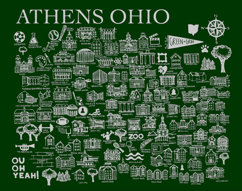 Green and Gray Athens Ohio Map