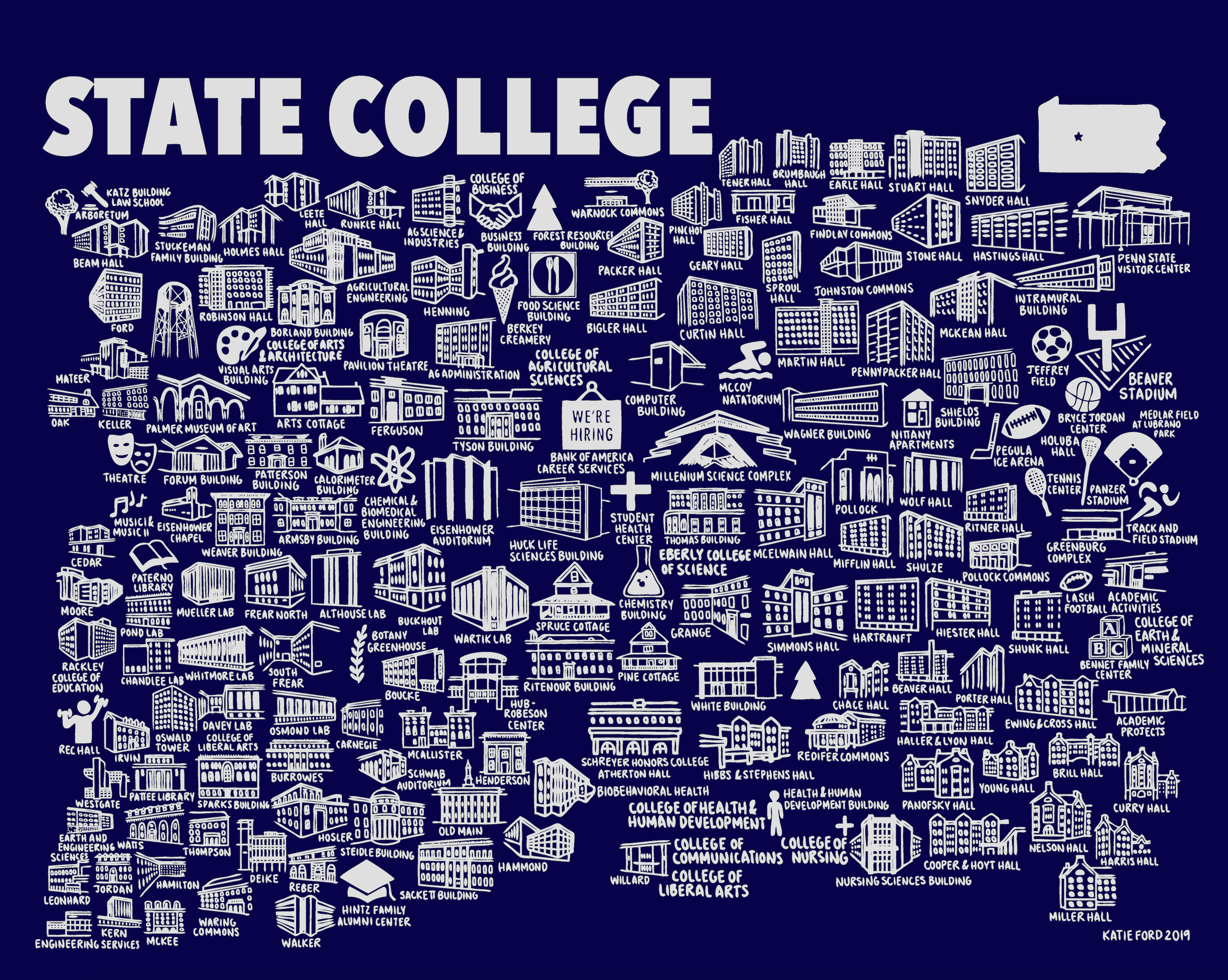 Penn State Map Blue and White