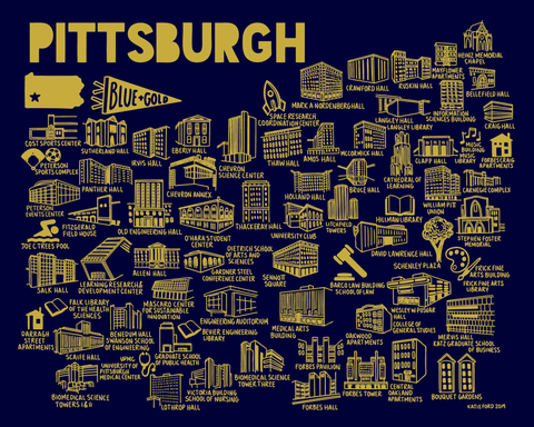 Pitt Map Blue and Yellow