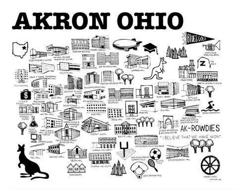 Akron Map Black and White