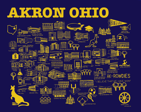Akron Map Blue and Gold