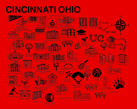 Cincinnati Map Black and Red