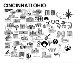 Cincinnati Map Black and White