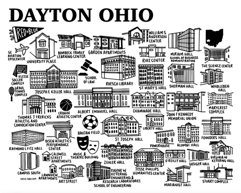 Dayton Map Black and White