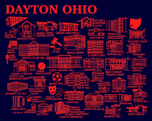 Dayton Map Navy and Red