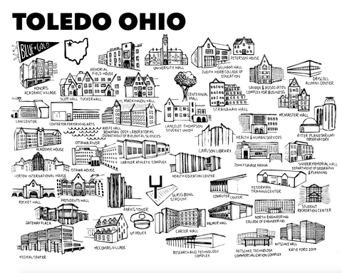 Toledo Black and White Map Print