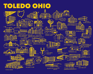 Toledo Blue and Gold Map Print
