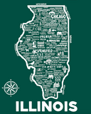 Illinois Map Print Green