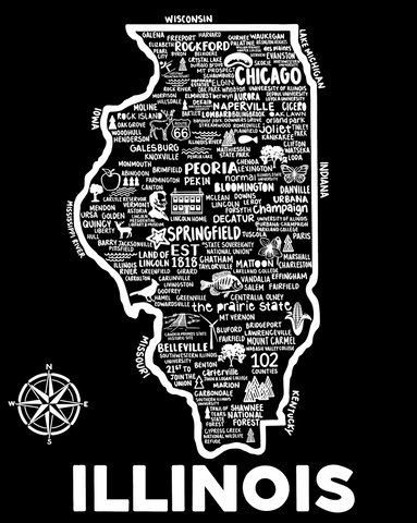 Illinois Map Print Black