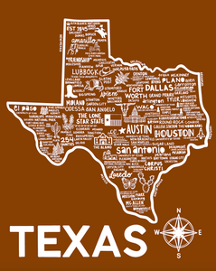 Texas Map Print Orange