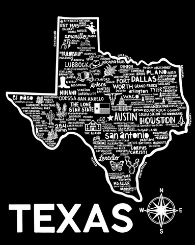 Texas Map Print Black