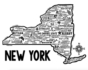 New York Map White