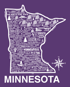 Minnesota Map Purple