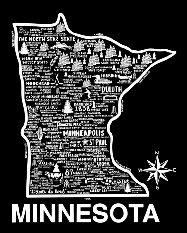 Minnesota Map Black