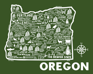 Oregon Map Green