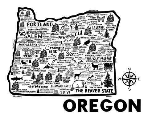 Oregon Map White