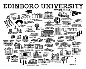 Edinboro University Map Print White