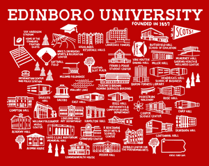 Edinboro University Map Print Red