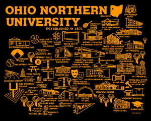Ohio Northern University Map Print Black Orange