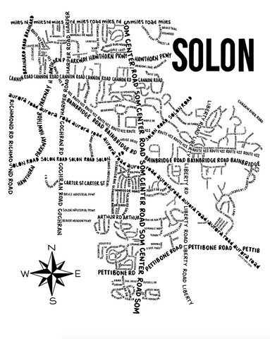 Solon Ohio Map Print