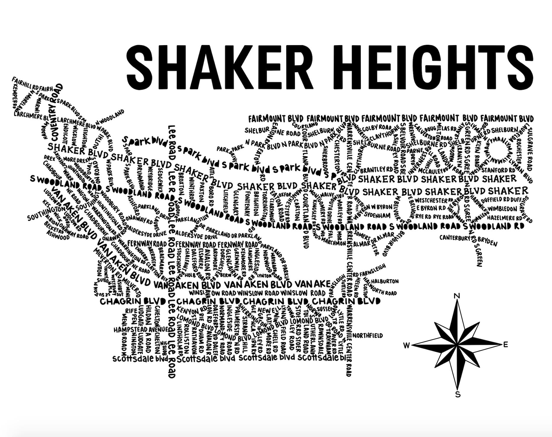 Shaker Heights Ohio Map Print