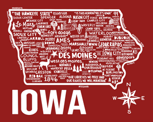 Iowa Map Red