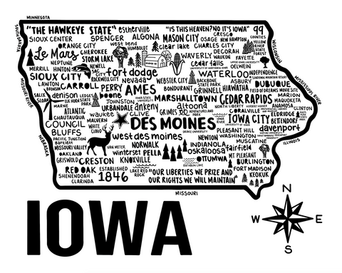 Iowa Map White