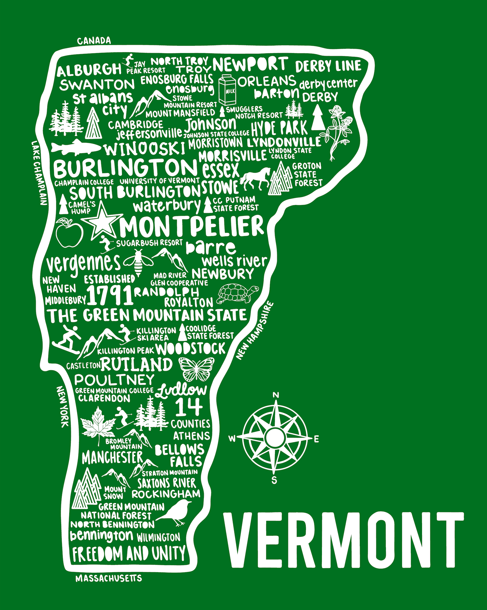 Vermont Map Green