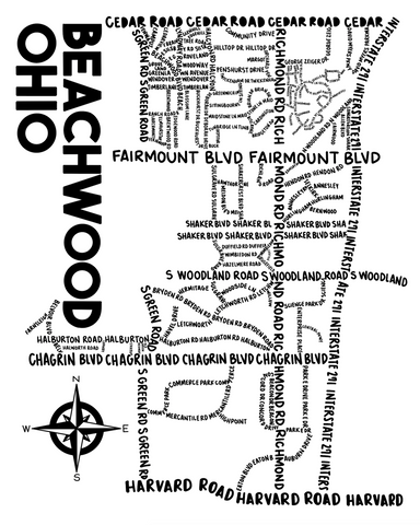Beachwood Ohio Map Print