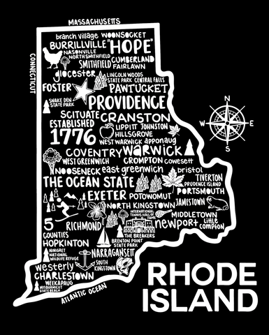 Rhode Island Map Black