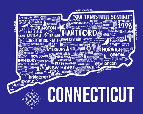 Connecticut Map Blue