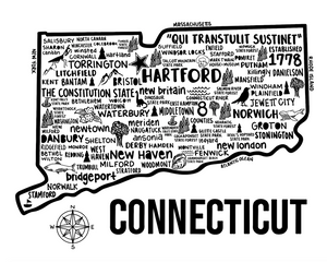 Connecticut Map White