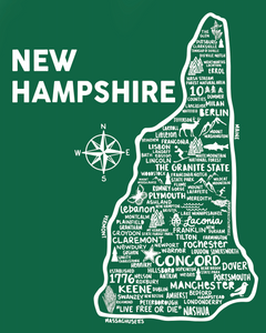 New Hampshire Map Green