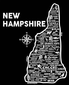 New Hampshire Map Black