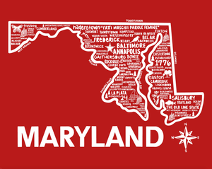 Maryland Map Red