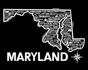 Maryland Map Black