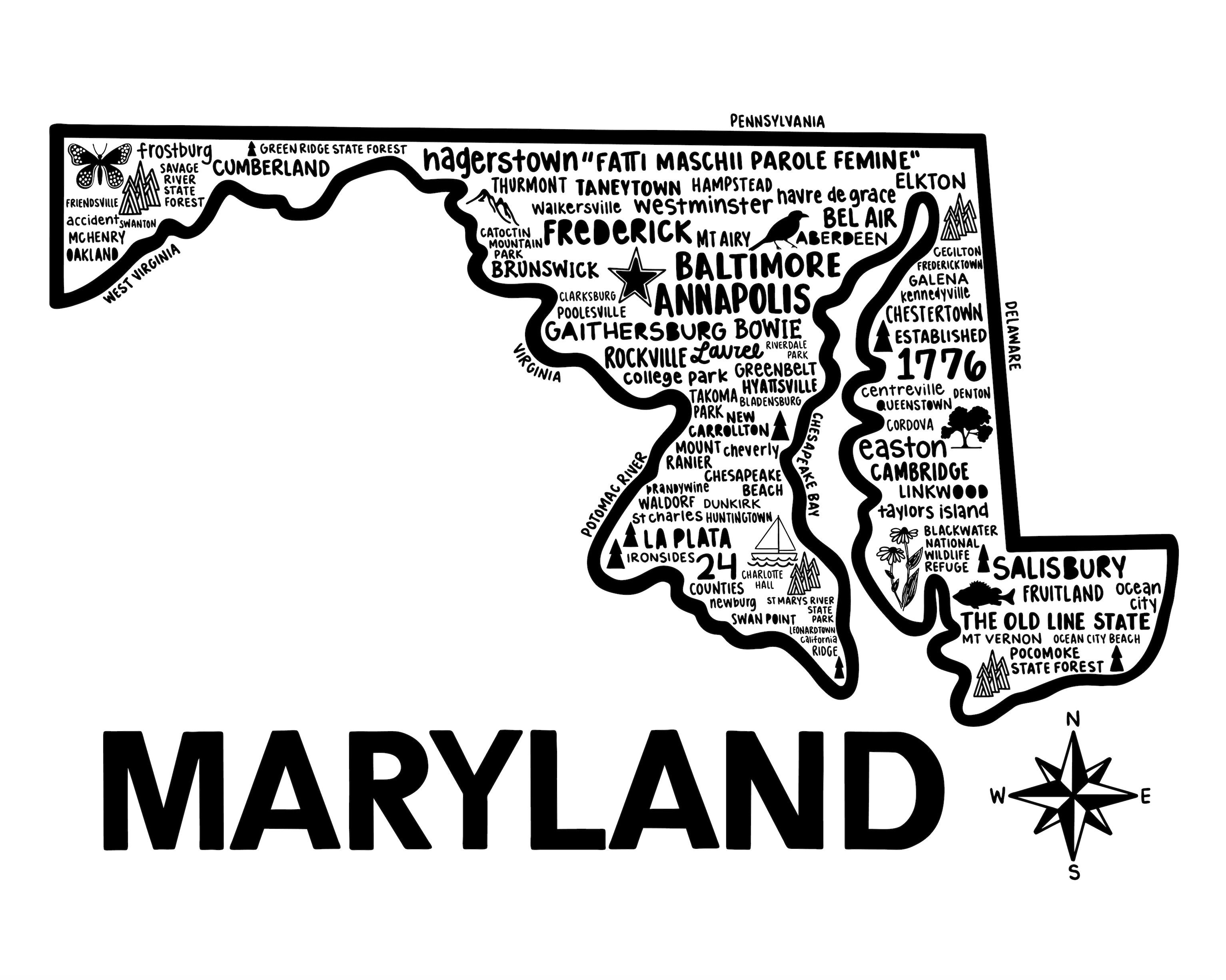 Maryland Map White