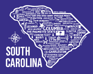 South Carolina Map Blue