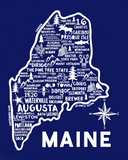 Maine Map Blue
