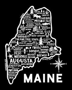 Maine Map Black