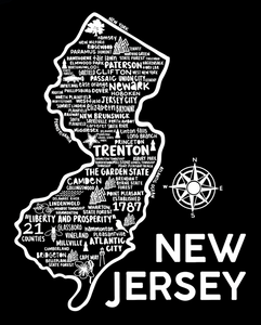 New Jersey Map Black