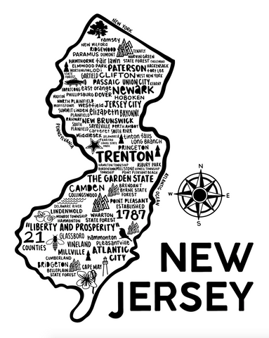 New Jersey Map White