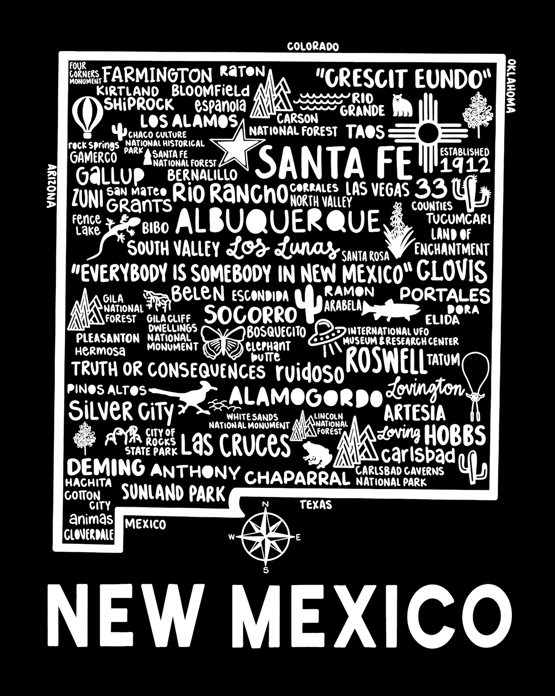 New Mexico Map Black